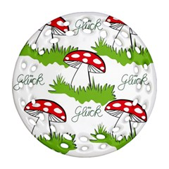 Mushroom Luck Fly Agaric Lucky Guy Round Filigree Ornament (two Sides) by Nexatart