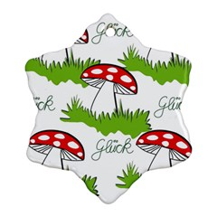 Mushroom Luck Fly Agaric Lucky Guy Snowflake Ornament (two Sides) by Nexatart