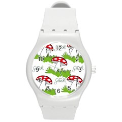 Mushroom Luck Fly Agaric Lucky Guy Round Plastic Sport Watch (m) by Nexatart