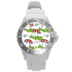 Mushroom Luck Fly Agaric Lucky Guy Round Plastic Sport Watch (l) by Nexatart