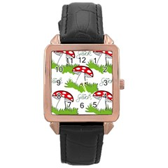 Mushroom Luck Fly Agaric Lucky Guy Rose Gold Leather Watch  by Nexatart