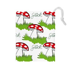 Mushroom Luck Fly Agaric Lucky Guy Drawstring Pouches (large)  by Nexatart