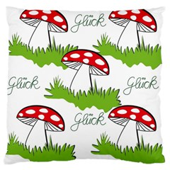 Mushroom Luck Fly Agaric Lucky Guy Large Flano Cushion Case (two Sides) by Nexatart