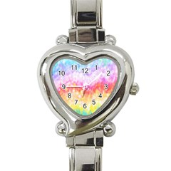 Rainbow Pontilism Background Heart Italian Charm Watch by Nexatart