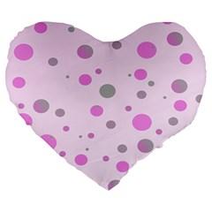 Decorative Dots Pattern Large 19  Premium Flano Heart Shape Cushions by ValentinaDesign