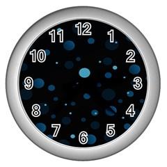 Decorative Dots Pattern Wall Clocks (silver)  by ValentinaDesign