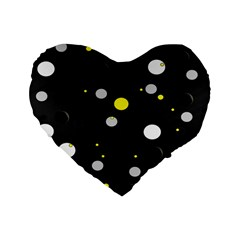 Decorative Dots Pattern Standard 16  Premium Flano Heart Shape Cushions by ValentinaDesign