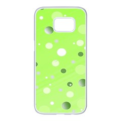 Decorative Dots Pattern Samsung Galaxy S7 Edge White Seamless Case by ValentinaDesign