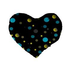 Decorative Dots Pattern Standard 16  Premium Heart Shape Cushions by ValentinaDesign