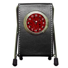 Decorative Dots Pattern Pen Holder Desk Clocks by ValentinaDesign