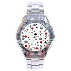 Decorative Dots Pattern Stainless Steel Analogue Watch by ValentinaDesign