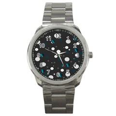 Decorative Dots Pattern Sport Metal Watch by ValentinaDesign
