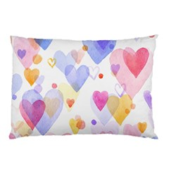 Watercolor Cute Hearts Background Pillow Case by TastefulDesigns