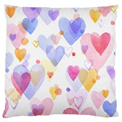 Watercolor Cute Hearts Background Standard Flano Cushion Case (two Sides) by TastefulDesigns