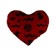 Aztecs Pattern Standard 16  Premium Flano Heart Shape Cushions by ValentinaDesign