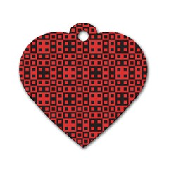 Abstract Background Red Black Dog Tag Heart (one Side) by Nexatart