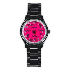 Aztecs Pattern Stainless Steel Round Watch by ValentinaDesign