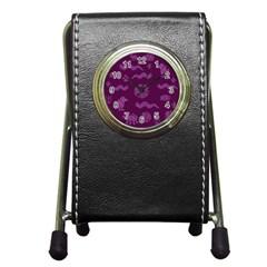 Aztecs Pattern Pen Holder Desk Clocks by ValentinaDesign