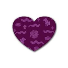 Aztecs Pattern Rubber Coaster (heart)  by ValentinaDesign