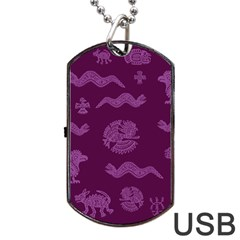 Aztecs Pattern Dog Tag Usb Flash (two Sides) by ValentinaDesign