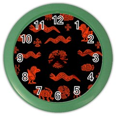Aztecs Pattern Color Wall Clocks by ValentinaDesign