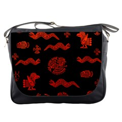 Aztecs Pattern Messenger Bags by ValentinaDesign