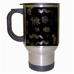 Aztecs Pattern Travel Mug (silver Gray) by ValentinaDesign