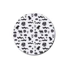 Aztecs Pattern Rubber Round Coaster (4 Pack)  by ValentinaDesign