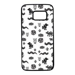 Aztecs Pattern Samsung Galaxy S7 Black Seamless Case by ValentinaDesign