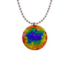 Colorful Paint Texture           1  Button Necklace by LalyLauraFLM