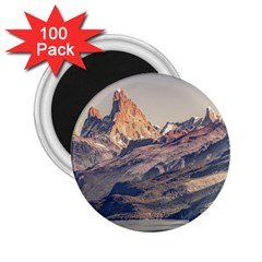 Fitz Roy And Poincenot Mountains Lake View   Patagonia 2 25  Magnets (100 Pack)  by dflcprints