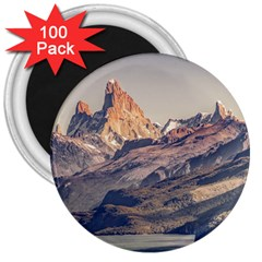 Fitz Roy And Poincenot Mountains Lake View   Patagonia 3  Magnets (100 Pack) by dflcprints