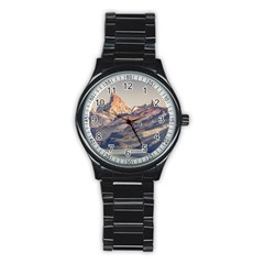 Fitz Roy And Poincenot Mountains Lake View   Patagonia Stainless Steel Round Watch by dflcprints