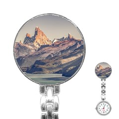 Fitz Roy And Poincenot Mountains Lake View   Patagonia Stainless Steel Nurses Watch by dflcprints