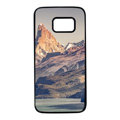 Fitz Roy And Poincenot Mountains Lake View   Patagonia Samsung Galaxy S7 Black Seamless Case by dflcprints