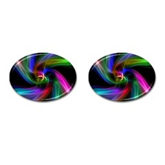 Abstract Art Color Design Lines Cufflinks (oval) by Nexatart