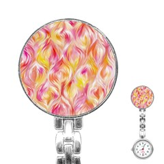 Pretty Painted Pattern Pastel Stainless Steel Nurses Watch by Nexatart