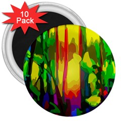 Abstract Vibrant Colour Botany 3  Magnets (10 Pack)  by Nexatart