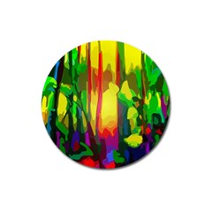 Abstract Vibrant Colour Botany Magnet 3  (round) by Nexatart
