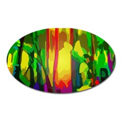 Abstract Vibrant Colour Botany Oval Magnet by Nexatart