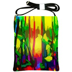 Abstract Vibrant Colour Botany Shoulder Sling Bags