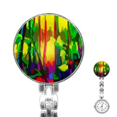 Abstract Vibrant Colour Botany Stainless Steel Nurses Watch by Nexatart