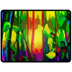 Abstract Vibrant Colour Botany Double Sided Fleece Blanket (large)  by Nexatart