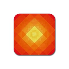 Pattern Retired Background Orange Rubber Coaster (square)  by Nexatart