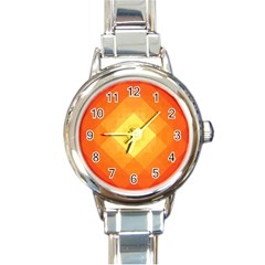 Pattern Retired Background Orange Round Italian Charm Watch by Nexatart