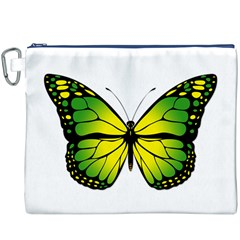 Green Butterfly Canvas Cosmetic Bag (xxxl) by linceazul