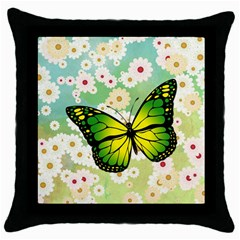 Green Butterfly Throw Pillow Case (black) by linceazul