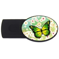 Green Butterfly Usb Flash Drive Oval (2 Gb) by linceazul