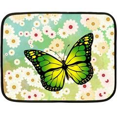 Green Butterfly Double Sided Fleece Blanket (mini)  by linceazul