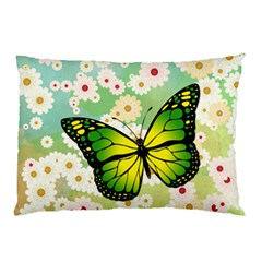 Green Butterfly Pillow Case (two Sides) by linceazul